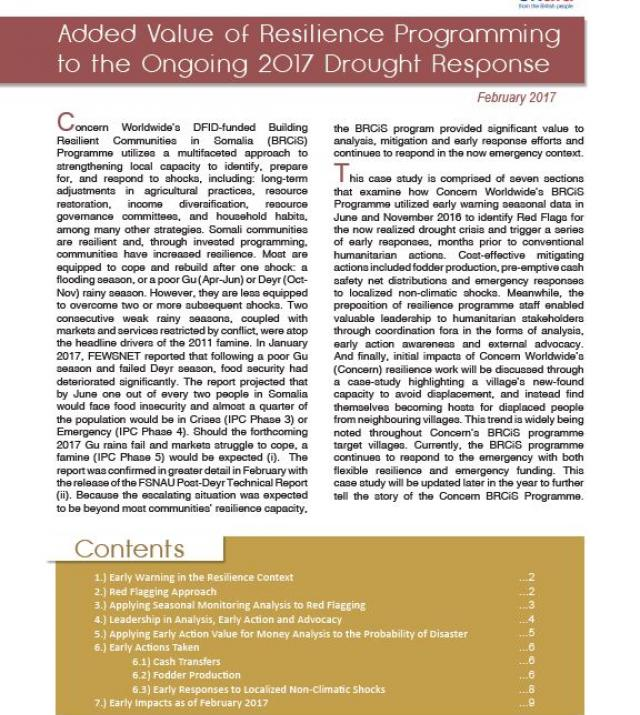 Download Resource: Added Value of Resilience Programming to the Ongoing 2017 Drought Response