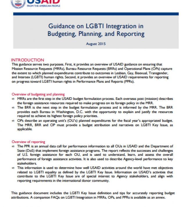 Download Resource: Guidance on LGBTI Integration in Budgeting, Planning, and Reporting