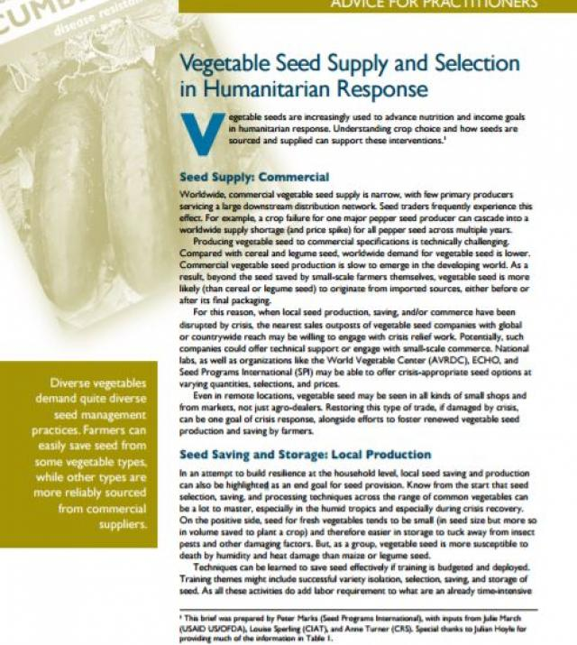 Download Resource: Seed Aid for Seed Security: Advice for Practitioners