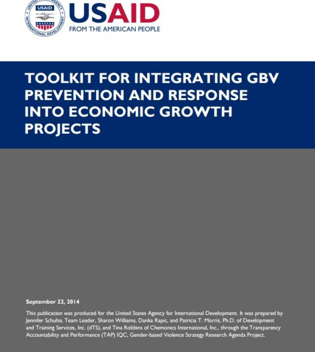 Download Resource: Toolkit for Integrating GBV Prevention and Response into Economic Growth Projects