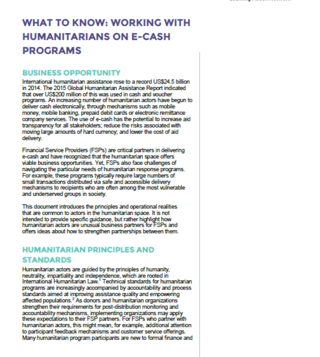 Download Resource: What to Know: Working with Humanitarians on E-Cash Programs