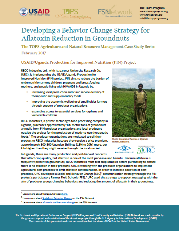 Download Resource: Developing a Behavior Change Strategy for Aflatoxin Reduction in Groundnuts